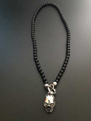 Collier Clip Onyx noire brillante & Skull