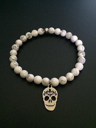 White Howlite & Mexican skull Bracelet