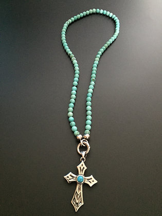 Collier Clip 6MM Howlite turquoise & Croix stone