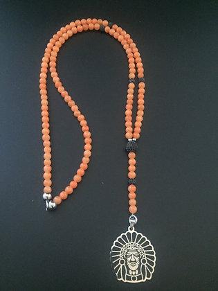 Chapelet Long 6mm Cornaline des Indes Orange & Indien