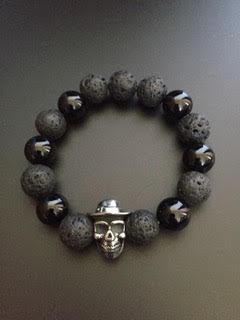 Onyx Brillante/Pierre de lave & Skull