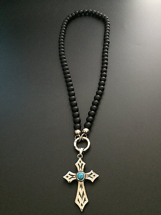 Collier Clip 8mm Onyx Mate & Croix stone