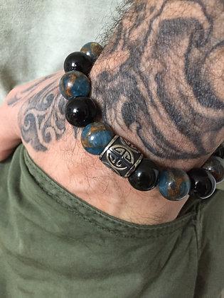 Bracelet 12 en Obsidienne Oeil Celeste et Jaspe du Nepal & Cylindre
