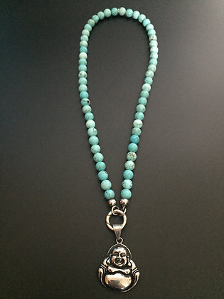 Collier Clip Howlite turquoise & Bouddha