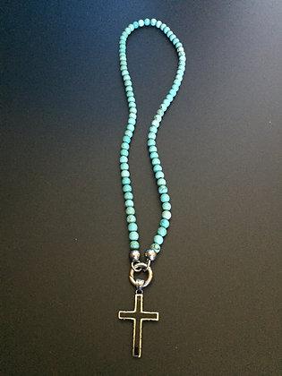 Collier Clip 6MM Howlite turquoise & Croix Noire