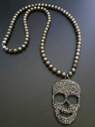Sautoir Pyrite & Skull Strass