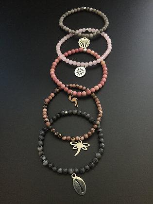 "Serie ""Rose Poudrée"" 5 bracelets"