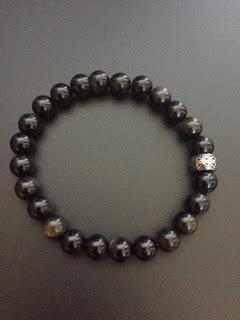 Obsidienne dorée & Perle gravée