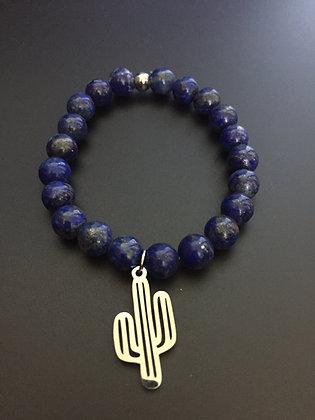 Bracelet Lapis Lazuli  & Cactus