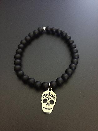 Bracelet Onyx mate & Mexican Skull