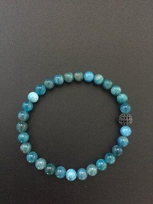Bracelet 6mm Apatite & Boule zircon