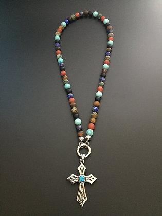 Collier Clip Mixte couleur* & Croix Stone