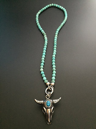 Collier Clip 6MM Howlite turquoise & Buffle stone