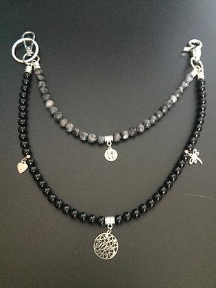 Double Labradorite / Brilliant Onyx Mix & Charms