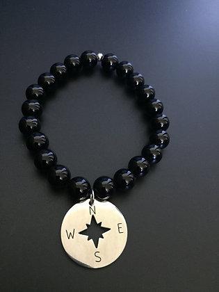 Shiny Onyx & Compass Rose Bracelet