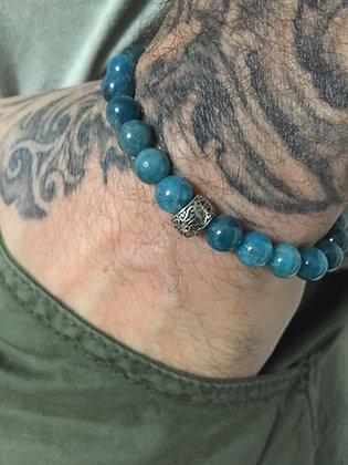 Bracelet 8 en Apatite & Cylindre gravé