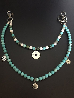 Double Melange  Howlite Turquoise /Mixte & Charms