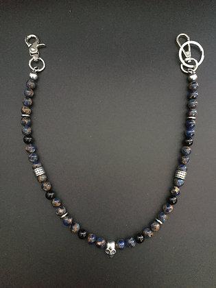 Mixte Jaspe bleu imperiale/ Onyx brillante & skull et bagues martelées