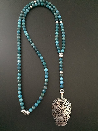 Chapelet Long 6mm Apatite & Skull Mexicaine