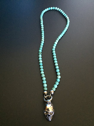 Collier Clip 6MM Howlite turquoise & Skull