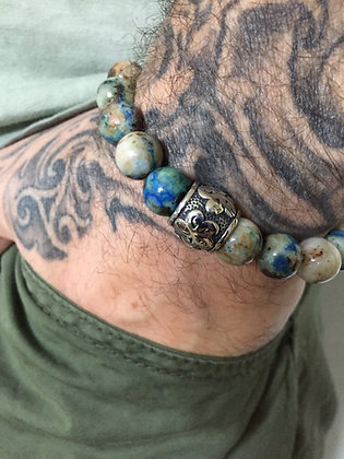 Bracelet 10 en Fynchenite Chrysocolla et Cylindre Arabesque