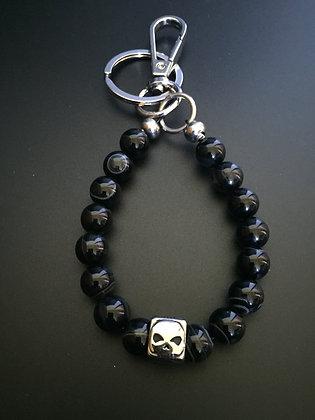 Porte-clés Agate Noire & Skull Dé