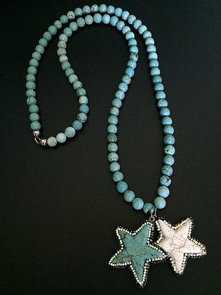 Sautoir Howlite turquoise & Etoile howlite et strass