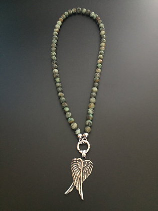 Collier Clip Turquoise africaine & Double Ailes