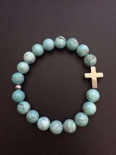 Howlite Turquoise & Croix Hematite