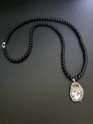 Sautoir Onyx Mate & Tranche géode Agate strass