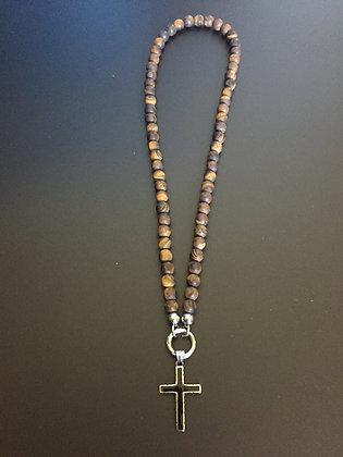 Collier Clip 8MM Oeil de Tigre mat & Croix noire