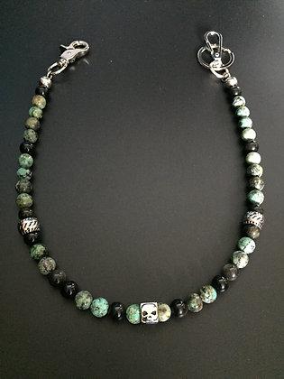Mixte Turquoise Africaine/ Obsidienne dorée & Skull Dé