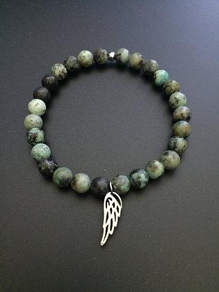 Bracelet Turquoise africaine & Aile d'ange