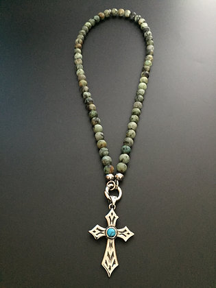 Collier Clip 8mm Turquoise africaine & Croix stone
