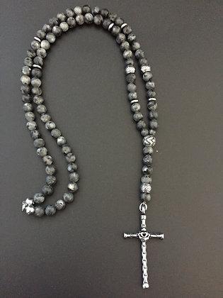 Chapelet 8mm Labradorite & Croix coeur