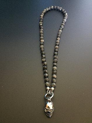 Collier Clip 8MM Labradorite & Skull