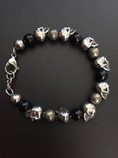 Onyx brillante/Pyrite de fer & Skulls