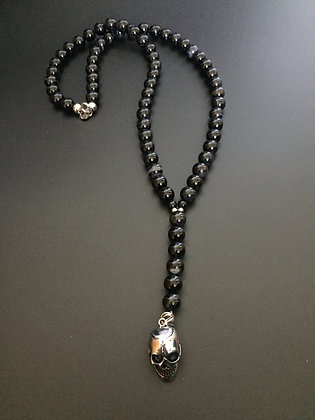 Chapelet Agate Noire & Skull