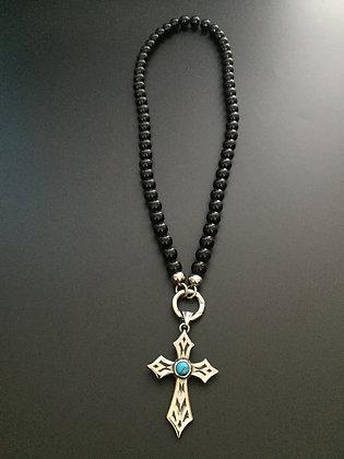 Clip Necklace 8mm Shiny Onyx & Cross stone