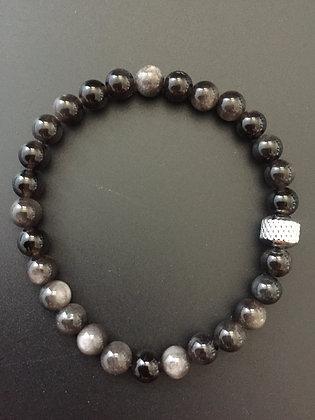 Bracelet 6mm Oeil de chat & Cylindre