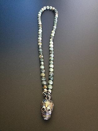 Collier Clip 8MM Turquoise Africaine & Skull Calavera