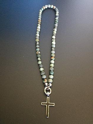 Collier Clip 8MM Turquoise Africaine & Croix noire
