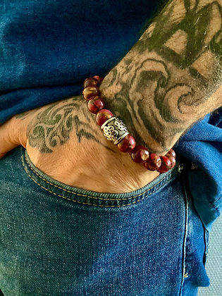 Bracelet 10mm en Jaspe Rubis & Cylindre gravé