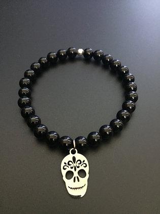 Bracelet Onyx brillante & Mexican skull