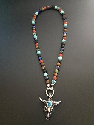 Color Mixed Clip Necklace * & Buffalo Stone