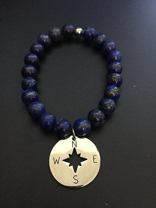Bracelet Lapis Lazuli  & Rose des vents
