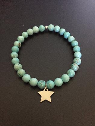 Bracelet Howlite turquoise & Etoile
