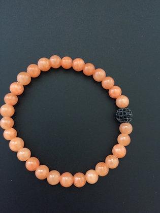 Bracelet 6mm Cornaline des Indes & Boule zircon