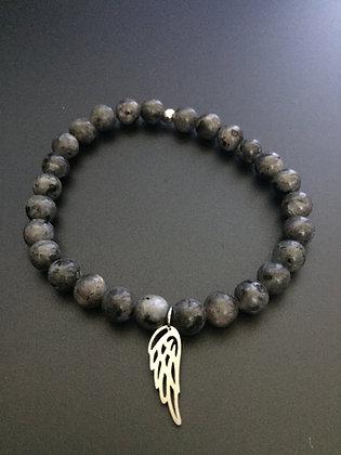 Bracelet Labradorite & Aile d'ange