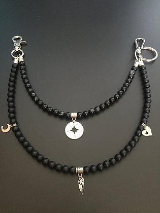 Double Melange Agate noire /Onyx mat & Charms